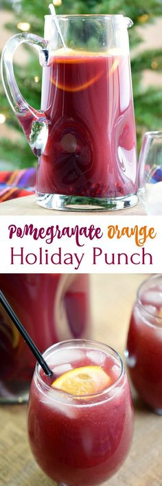 This Pomegranate Orange Holiday Punch is fizzy, fruity, and super easy to prepare. It is sure to be a huge hit at your next party! #cocktails #holidaycocktails #partypunch via @cookwithcurls {wine glass writer}