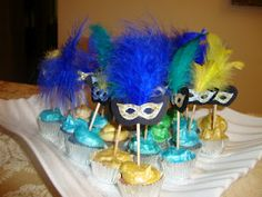 mini cupcake with masquerade topper ashley streck sisters masquerade bridal shower ideas