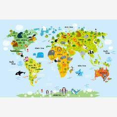 Kinder wereldkaart met dieren. #kinderkamer #babykamer