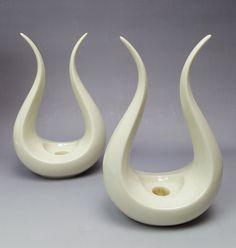 Lenox bone white porcelain stylized lyre candle holders 1940s-50s mark - pair