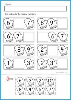 Math Worksheets & Activities - Winter (Beginning Skills). 43 pages. A page from the unit: Missing numbers cut and paste (1-20).
