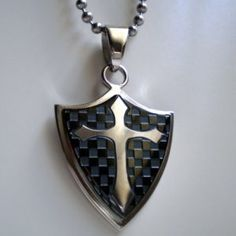 Image of Knights Templar Cross Black Shield Steel Pendant
