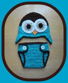 Newborn Baby Boy Crochet OWL Blue n Brown Diaper by shayahjane, $26.99