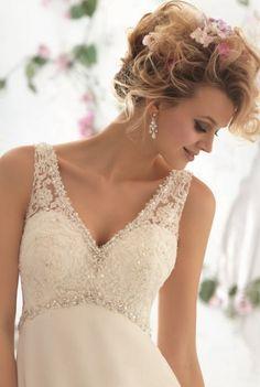 Белое ампир простое пляжное свадебное платье со шлейфом (KF3005)