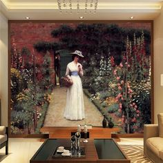 Lady in a Garden Wallpaper Famous Painting Photo Wallpaper Custom Wall Mural Home decoration Art Room decor Bedroom Living room