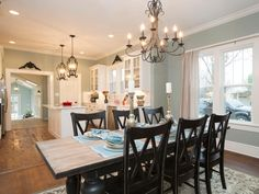Looking for Cottage Living Space and Dining Room ideas? Browse Cottage Living Space and Dining Room images for decor, layout, furniture, and storage inspiration from HGTV. Cottage Dining Rooms, Family Dining Rooms, Family Room, Craftsman Remodel, Craftsman Style Homes, Elegant Chandeliers, Blue Walls, Interior Design Inspiration, Design Ideas