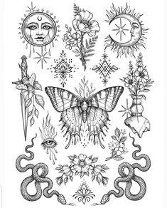 Flash Art Tattoos, Dope Tattoos, Tattoo Flash Sheet, Pretty Tattoos, Body Art Tattoos, Sleeve Tattoos, Tattos, Hippie Tattoos, Mini Tattoos