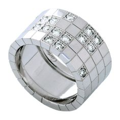 Anillo ancho de Diamantes con diseño Geométrico | Diseñado por CARTIER.-