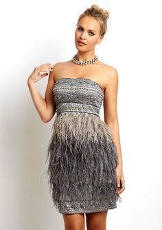 SUE WONG Short Strapless Dress with Feathers