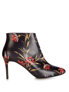 BALENCIAGA George V Coquelicot-Print Leather Ankle Boots. #balenciaga #shoes #boots