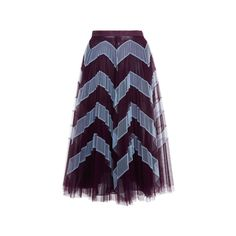 Mary Katrantzou     Clementine Chevron Tulle Skirt (17.518.800 IDR) ❤ liked on Polyvore featuring skirts, mid length tulle skirt, mary katrantzou, chevron striped skirt, zig zag skirt and mid length skirts