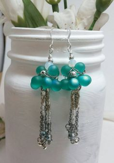 Teal beaded earrings  Aqua glasses beaded by HappyElephantArt