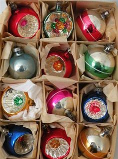 Bright and shiny Christmas decorations - vintage 1970s Childhood, My Childhood Memories, Childhood Toys, Sweet Memories, Vintage Christmas Ornaments, Retro Christmas, Christmas Decorations, Glass Ornaments, Christmas Baubles