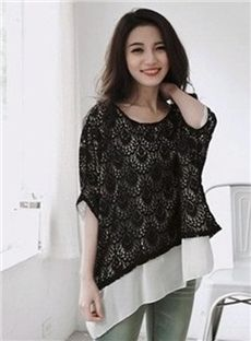 Amazing Fake Two-Piece Mesh Patchwork Loose T-shirt