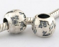 Sterling Silver Cat Flower Pandora Charms
