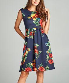 Look what I found on #zulily! Navy & Red Floral Pocket Sleeveless Dress #zulilyfinds