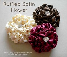 Image detail for -. Bows and More: Ruffled Satin Flower Tutorial by The Ribbon Retreat Satin Flowers, Diy Flowers, Flowers In Hair, Fabric Flowers, Paper Flowers, Felt Flowers, Ribbon Crafts, Flower Crafts, Diy Crafts