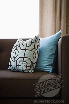 Blue Accent Pillows For Brown Leather Sectional Couch | Detail Blue Throw  Pillows On Chocolate Brown