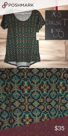 Lularoe Classic Tee Orange, teal and black Venetian design! Fits sizes 2-4 LuLaRoe Tops Tees - Short Sleeve