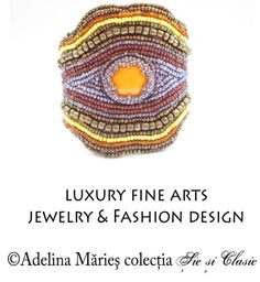 bratara - bijuterii de lux design Adelina Maries Marie, Jewelry Design, Crochet Hats, Jewelry Making, Luxury, Bracelets, Fashion Design, Color, Embroidery