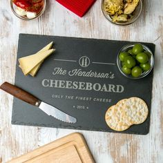 For a family full of cheese lovers, this personalised slate cheese board is a great gift, and looks great piled high with the finest fromage! Engraved in our studio, these personalised chopping board. Slate Cheese Board, Slate Board, Personalised Chopping Board, Wood Chopping Board, Onion Relish, Unique Housewarming Gifts, Kitchen Board, Cheese Lover, Gift Ideas