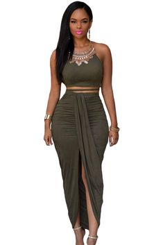 958313ec7f9 Olive Faux Suede Two Piece Maxi Skirt Set/Necklace Designed with delicate  draping pleats and