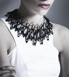 "A/N Blog . LACE by Jenny Wu, Prêt-à-3D Print.   Necklace designed by architect, Jenny Wu, using a 3-D printer. This is a ""statement piece"" that looks very chic with a white dress. Photo by Christian Coleman.   #jennywu  #jewelry   #marypezzaro"