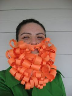 DIY leprechaun beard - so cute and easy to make. Only paper, yarn, and glue