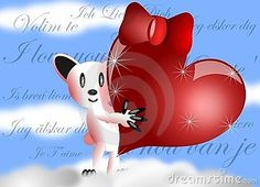 Saint Valentine greeting card with an happy white bear holding a big read heart with ribbon in its hands.
