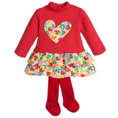 Red Dress with Flower Ruffle Skirt & Tights, Agatha Ruiz de la Prada, Girl