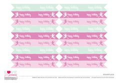 free printable fairy birthday party straw flags
