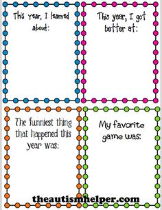 End of Year Reflection Worksheets {free} by theautismhelper.com