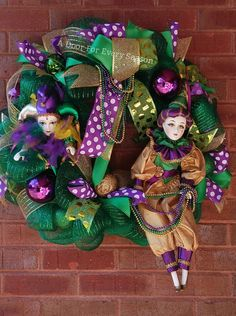 Mardi Gras Wreath Fat Tuesday One of a Kind by ADoorForEverySeason
