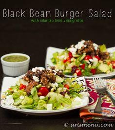 Black Bean Burger Salad with Cilantro Lime Vinaigrette
