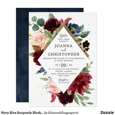 Navy Blue Burgundy Blush Pink Rose Boho Wedding Invitation Burgundy Wedding Invitations, Floral Invitation, Elegant Wedding Invitations, Wedding Invitation Cards, Hand Lettering Styles, Rustic Boho Wedding, Wedding Frames, Wedding Ideas, Floral Watercolor