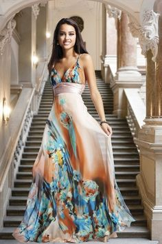 This one is best maxi dress foe petite size women  in multi shade
