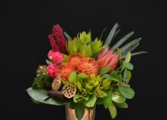 When its and the brief is African flowers with colour and lushness - king protea, leucospermum, leucadendrons, gold lotus pods (plus ranunculus because they were the perfect colour). Daisy Hill, Flower Delivery, Tropical Flowers, Arrangement, Flowers, Florist, African Flowers, Australian Native Flowers, Daisy