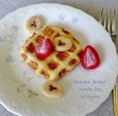 Needle felted waffle with strawberry and banana by FunFeltByWinnie