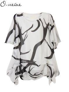 O-NEWE Loose Women Summer Printed Chiffon Irregular Hem Party Blouse