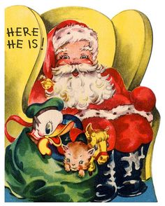 Retro Santa Claus, with Donald in the sack, Christmas card.