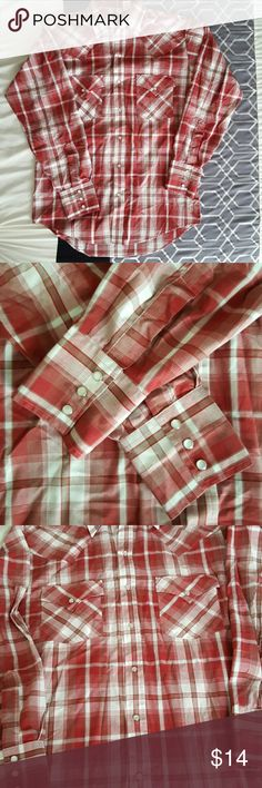 Plains Western Wear Men's plaid long sleeve Small Small Men's long sleeve in plaid of reds, brown, and white. Pearl snap buttons. Excellent used condition Plains Western Wear Shirts Casual Button Down Shirts