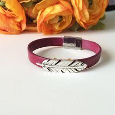 Fuchsia Leather Bracelet - Raspberry Layering Bracelet - Feather Charm Leather Bracelet - Customized Bracelet - Made to Order Bracelet #bohobracelet #leatherbracelet #fuchsia