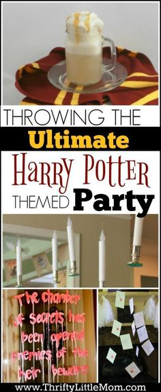 Throwing the Ultimate Harry Potter Themed Party. This post really helped me set up a cool Harry Potter themed party with diy decorations, party snacks, butter beer recipe, floating candles, floating owl mail and more!