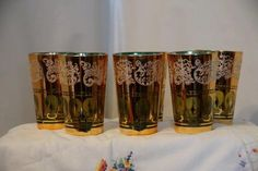 Set of 6 Korean Heavy Gold Gilt Glasses. Starting at $35