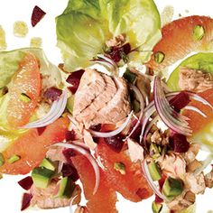 Chili-Spiced Salmon Salad Canned salmon gets dress up with avocado, grapefruit sections, onions, beets, and pistachios over a bed of Bibb lettuce.