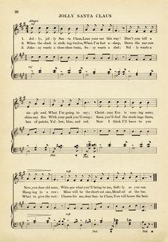 vintage sheet music, jolly santa claus song, old fashioned christmas ...