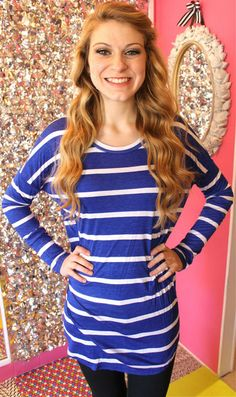 Striped High-Low Slouchy Top in Navy