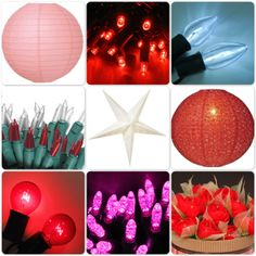 Decorate for Valentine's Day with string lights and paper lanterns in reds, pinks and whites.  Shop at http://www.partylights.com/Customer-Guide/Red-Pink-White