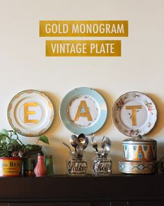 Beautiful monogram vintage plates! Get full tutorial here!
