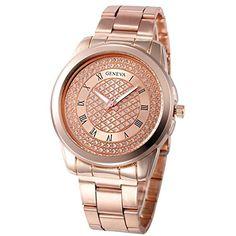 KanLin1986 reloj de acero inoxidable deporte reloj analógico de cuarzo para mujeres (Oro rosa) #reloj #tous